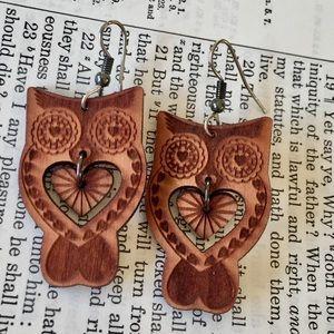 OWL Earrings Carved Wood